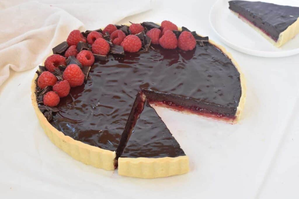 Tart as shown from front with one slice taken out.