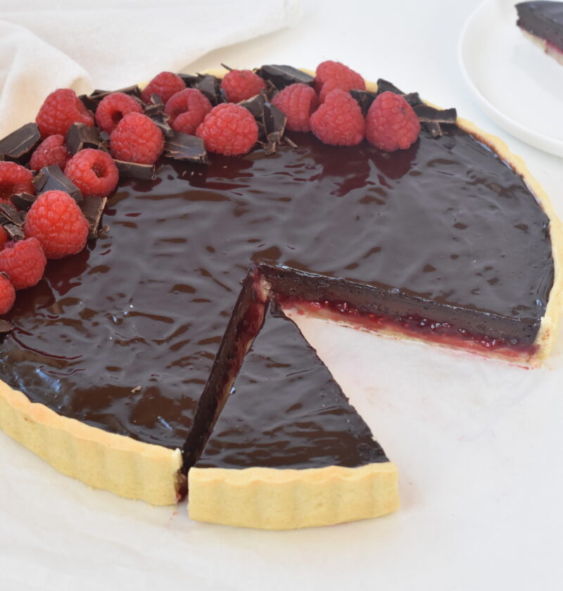 Chocolate Raspberry Tart on Display