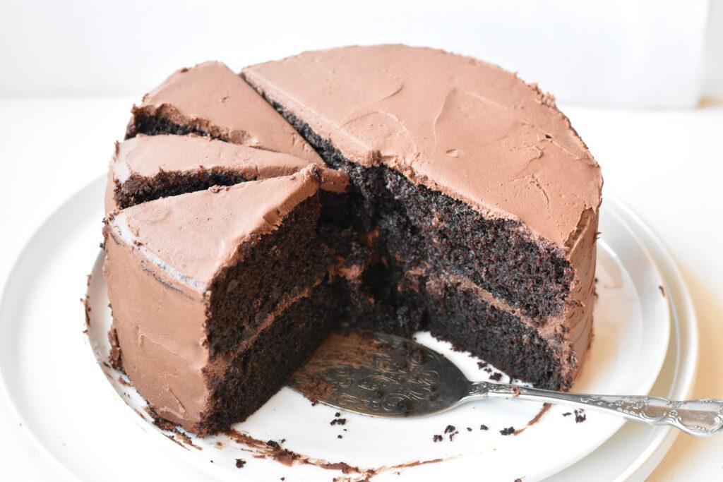Devils food cake sliced up on a plate.