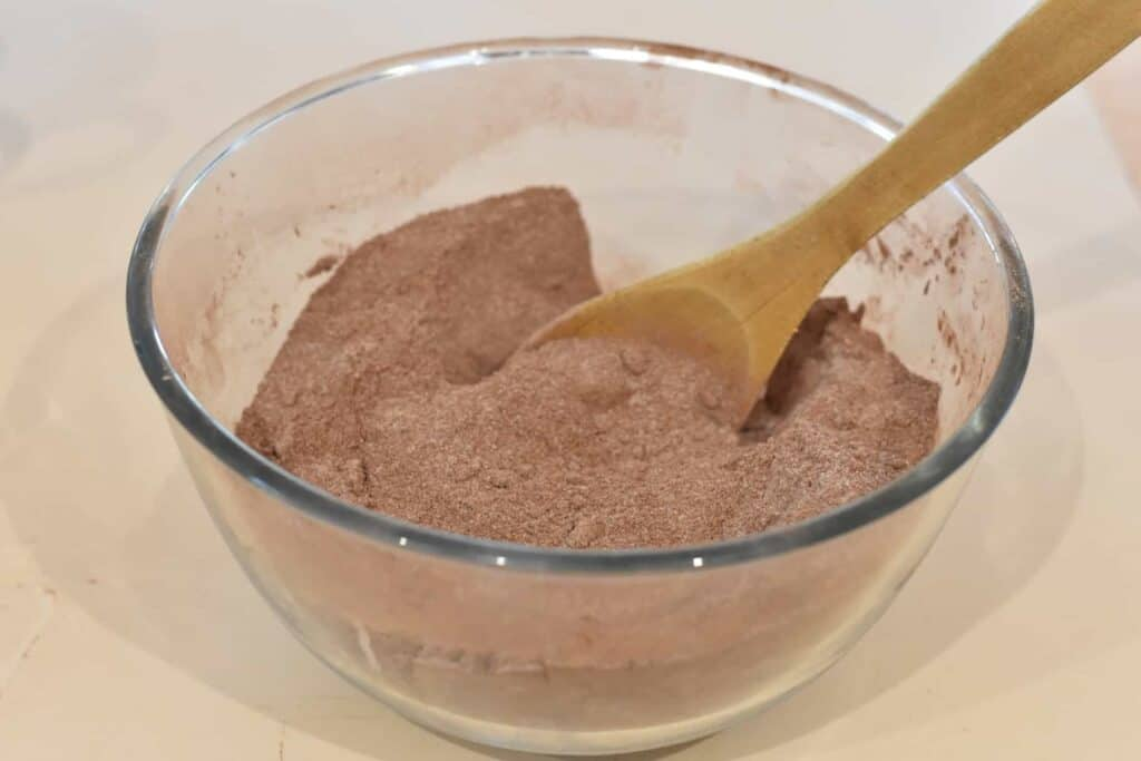 Dry ingredients mixed in a large bowl.