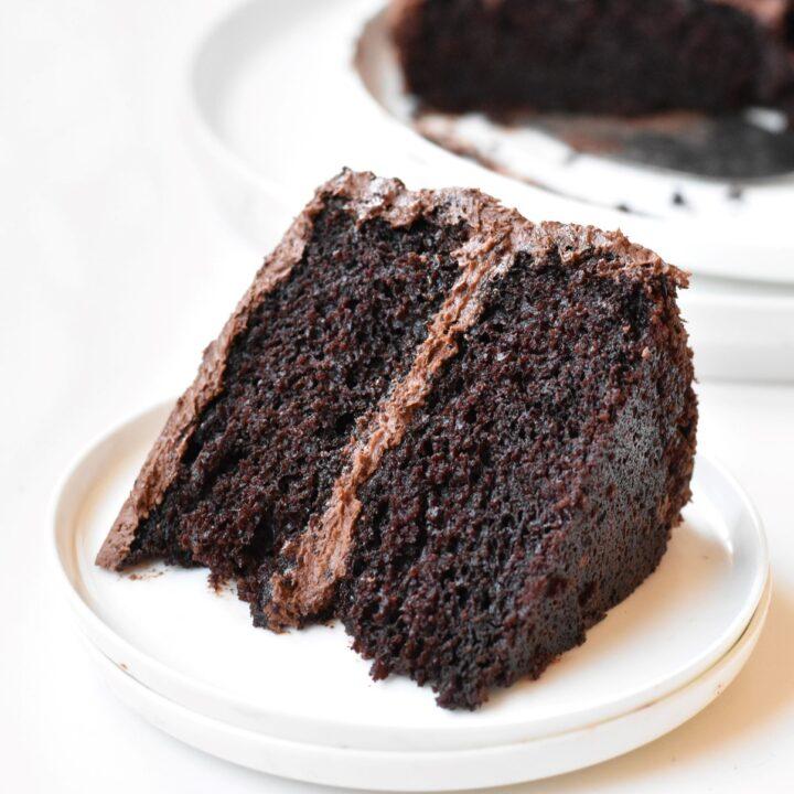 Slice of Devil's Food Cake on a plate.