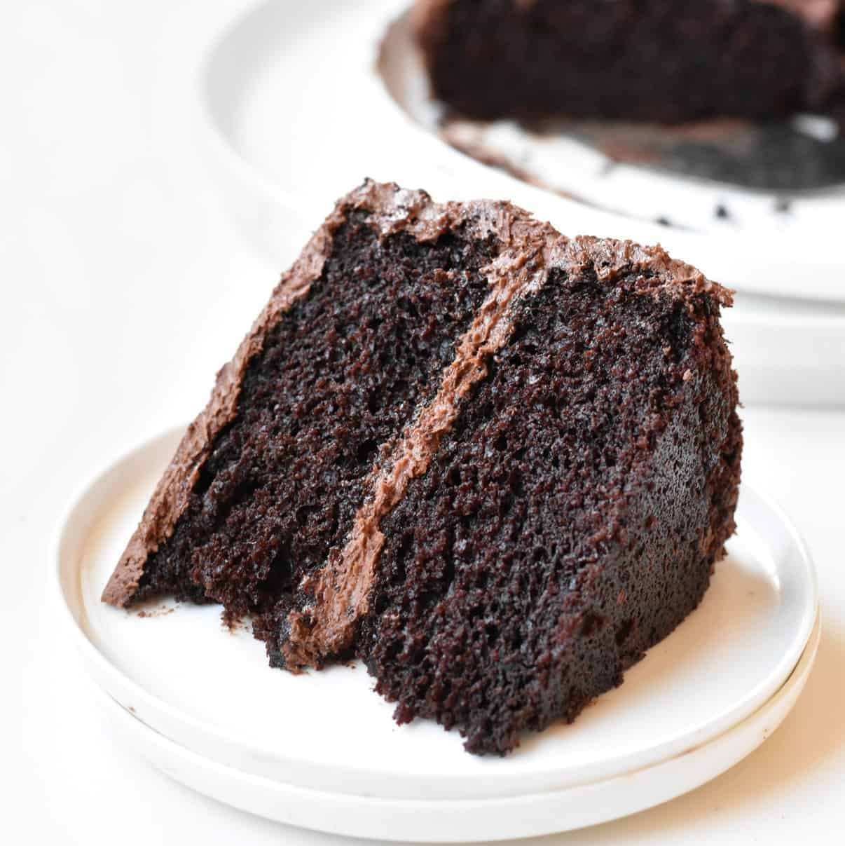 Slice of Devil's Food Cake on a plate.