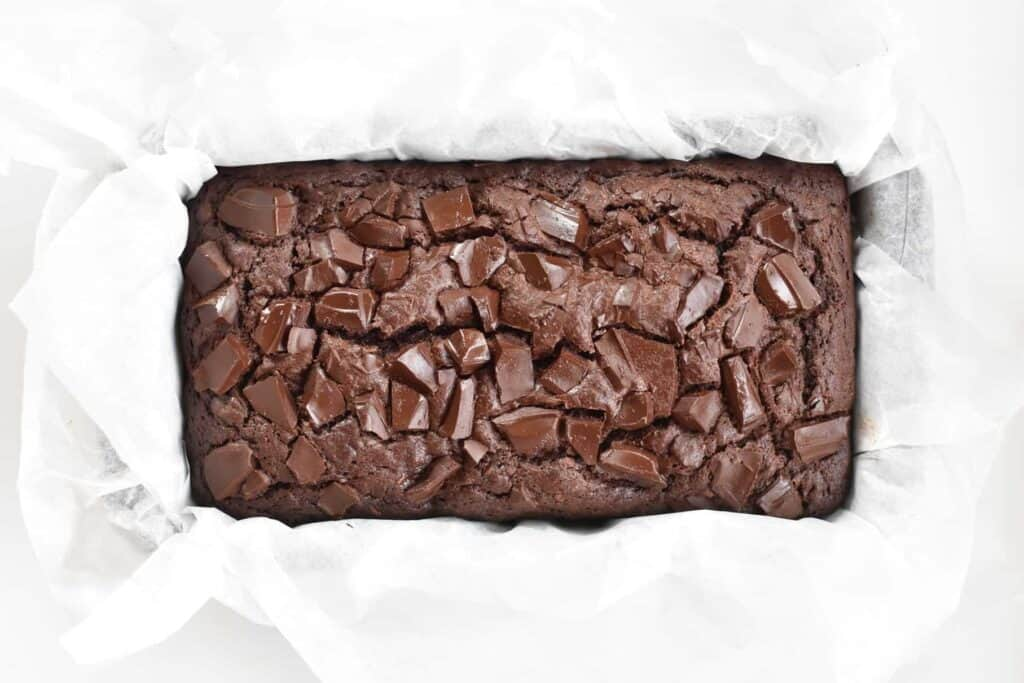 Chocolate banana bread from above in tin.