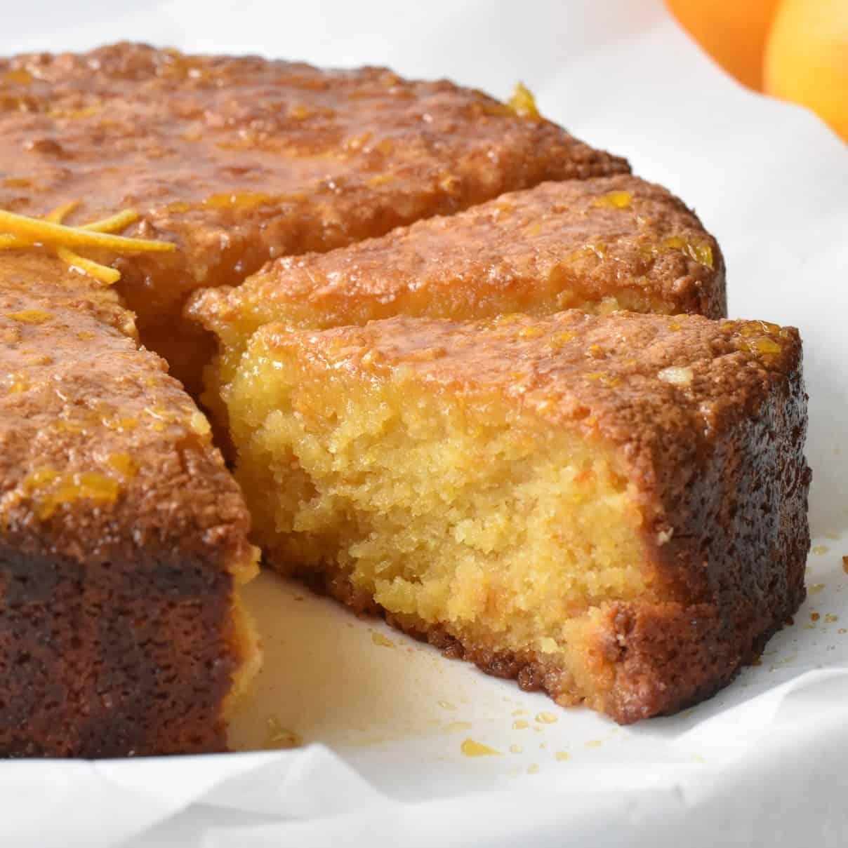 Flourless Orange Cake slices on display.