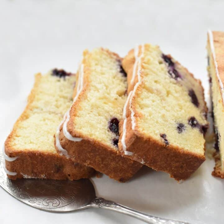 Slices of the Lemon Blueberry Pound Cake.