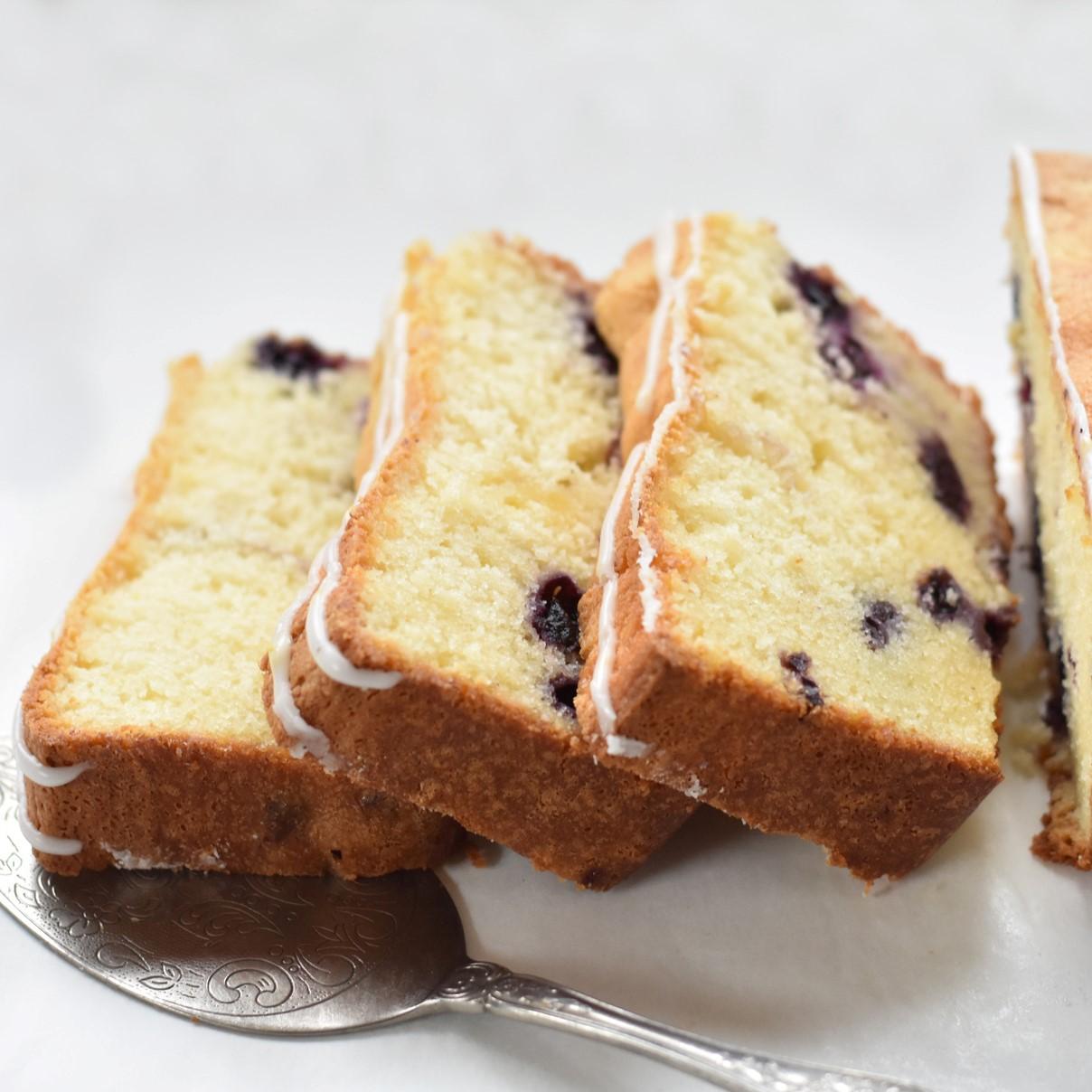 Slices of the Lemon Blueberry Pound Cake.