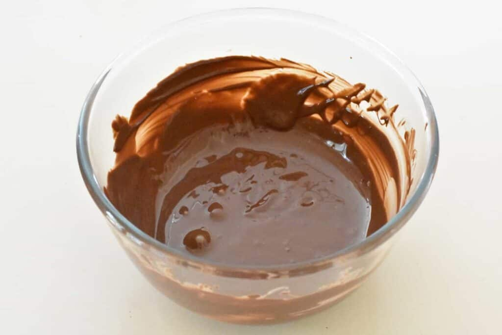 Chocolate melted in a bowl.