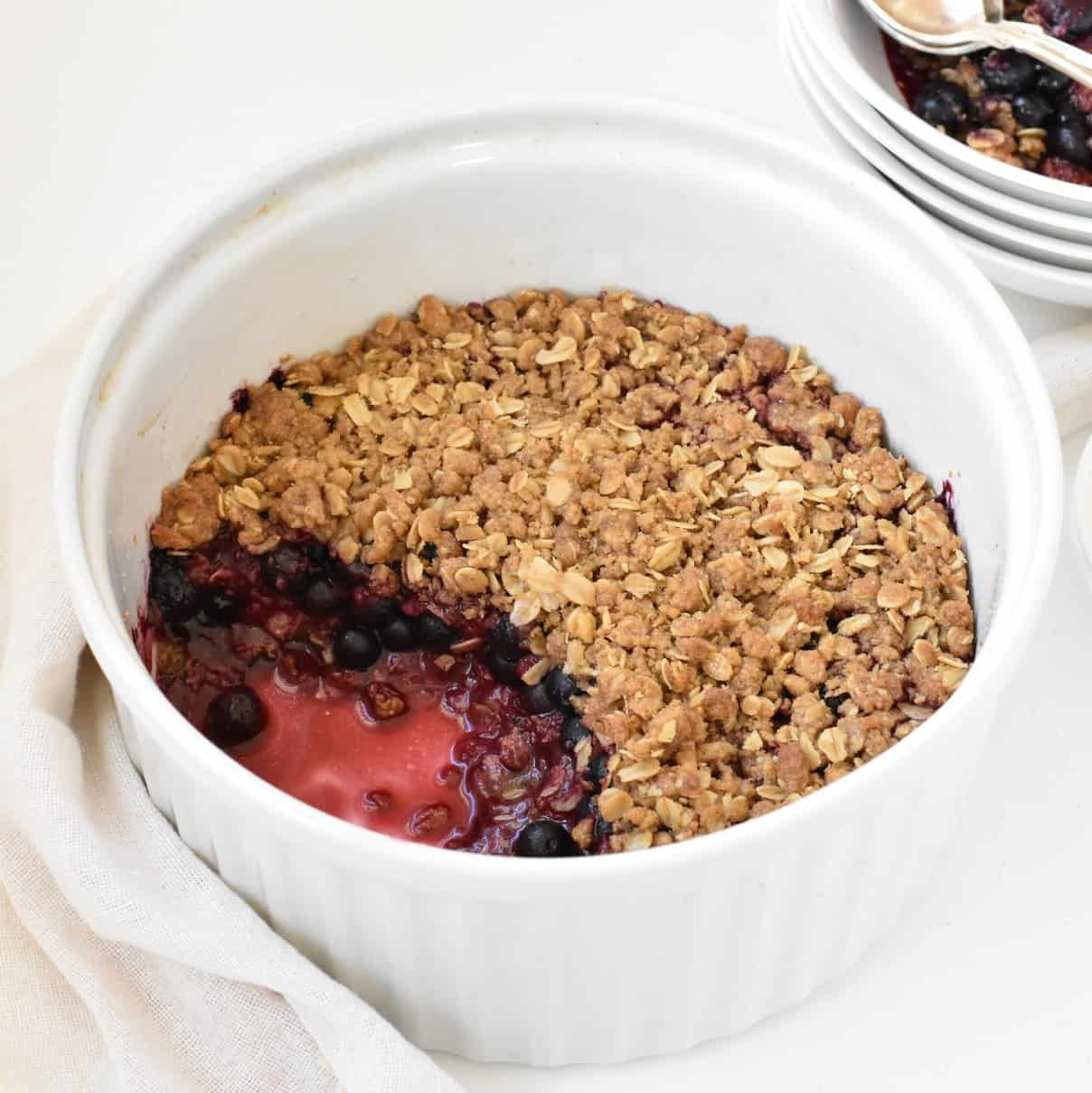 Berry Crumble being served.