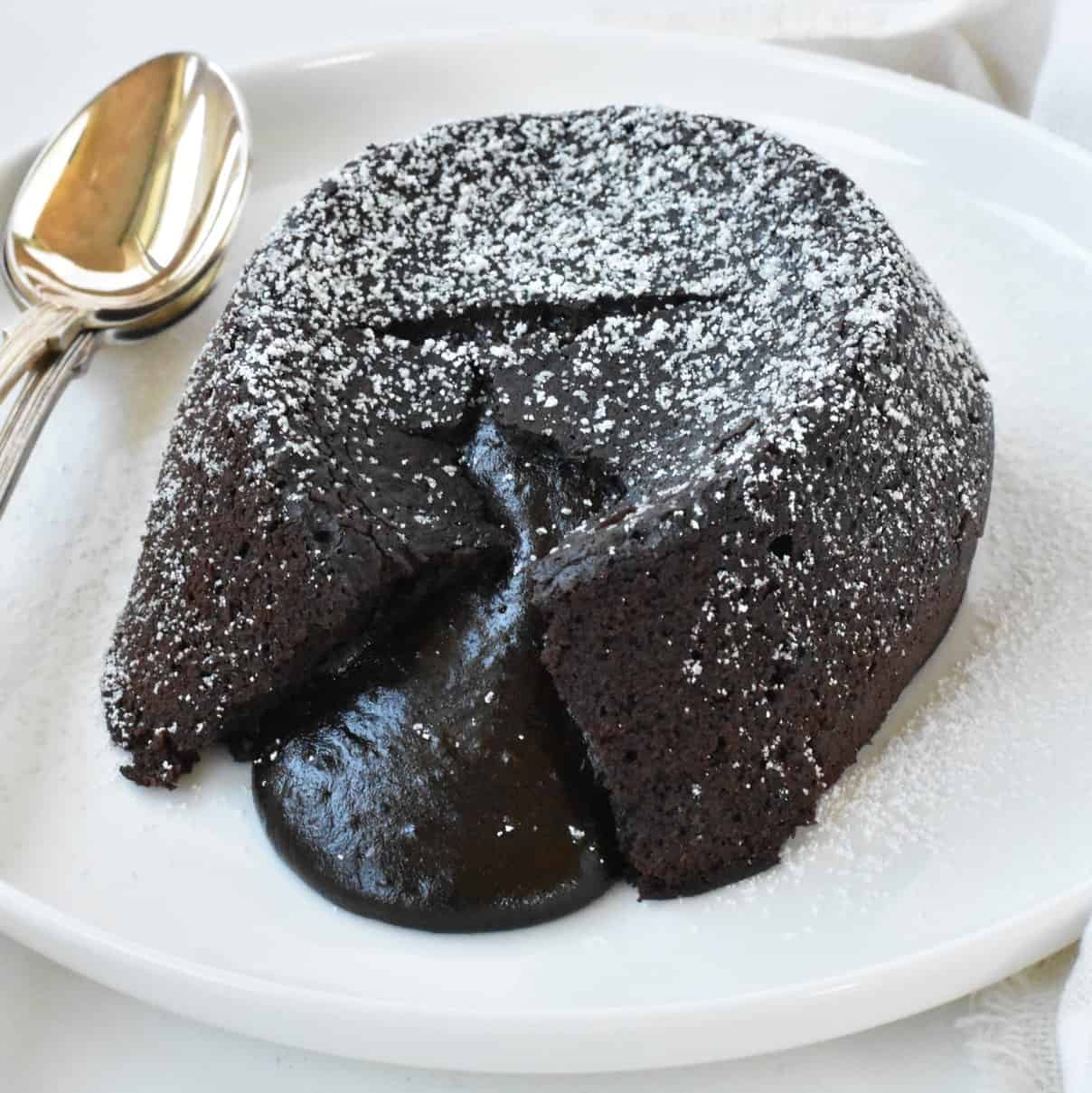 Molten lava cake on plate.