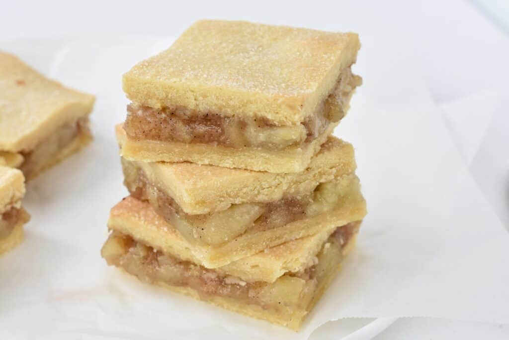 Stack of apple pie bars.