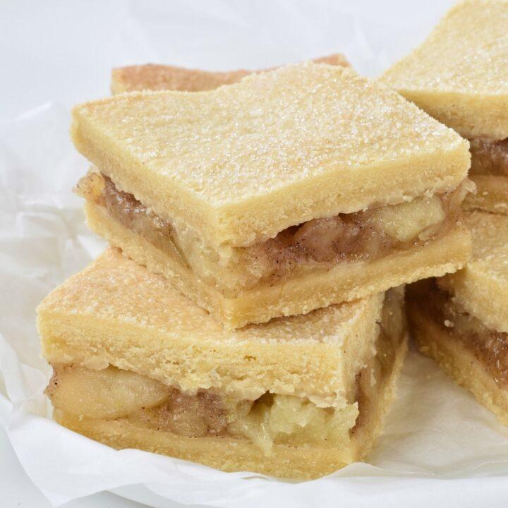 Stack of apple pie bars.