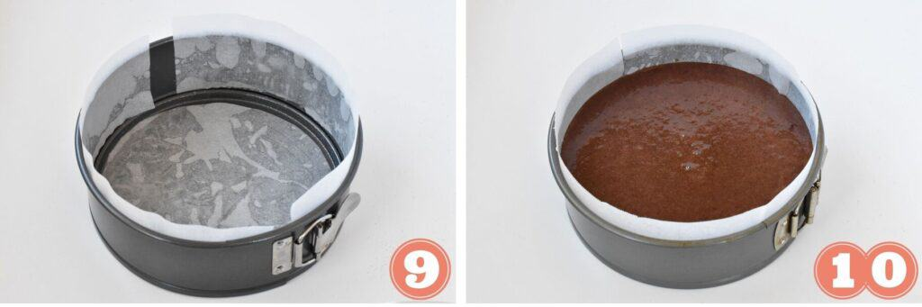 Chocolate cake batter being poured into tin.