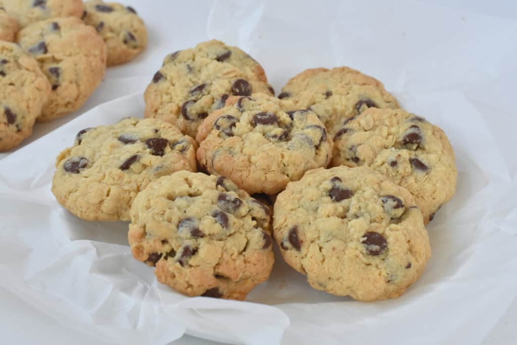 Plate of chocolate chip oat cookies.