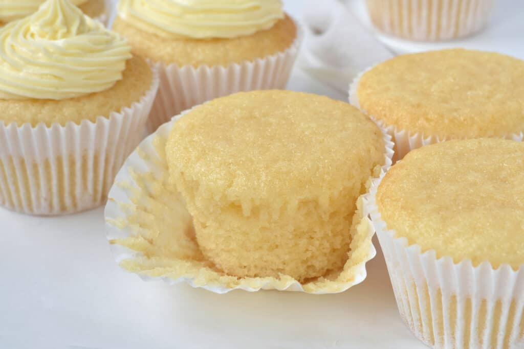 Vanilla cupcake without frosting with case opened.