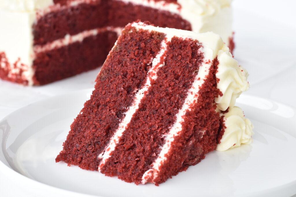 Red Velvet Cake Slice on Plate